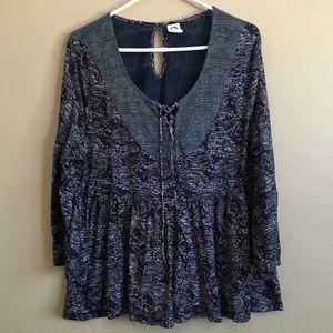 Akemi + Kin Blue flowy neck tie print boho blouse